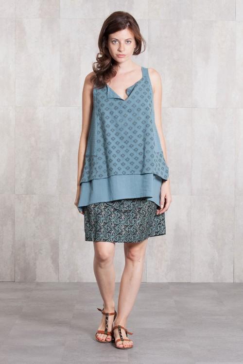 Tunik coton dobby 635-83-blue grey