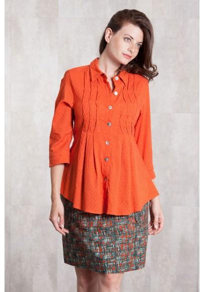Blouse Coton dobby 635-15-Orange