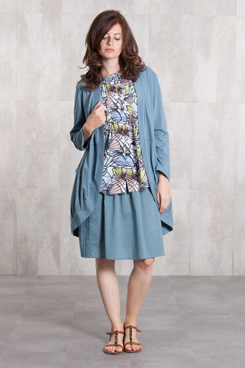 Jacket coton jersey 635-94-Blue grey