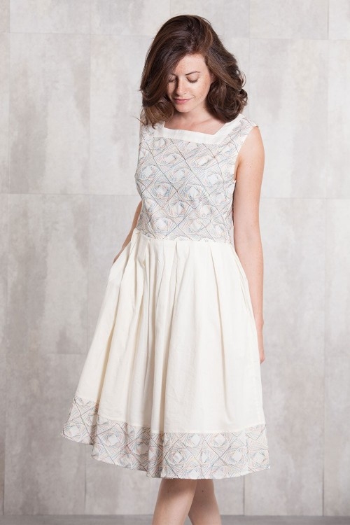 Dress  coton voil embroidery 636-70-Natural
