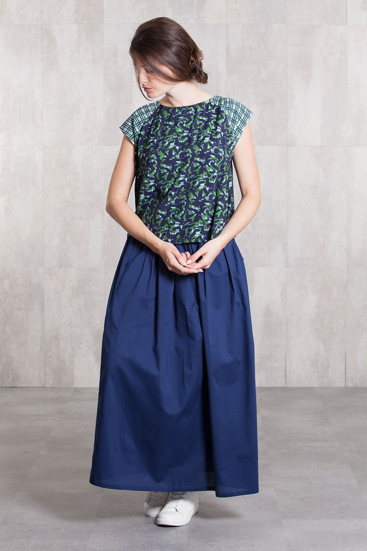 Long skirt coton voil -635-34-navy
