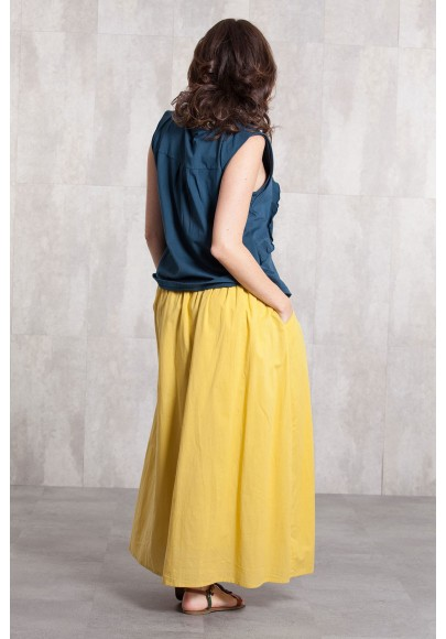 Long skirt coton voil -635-34-yellow