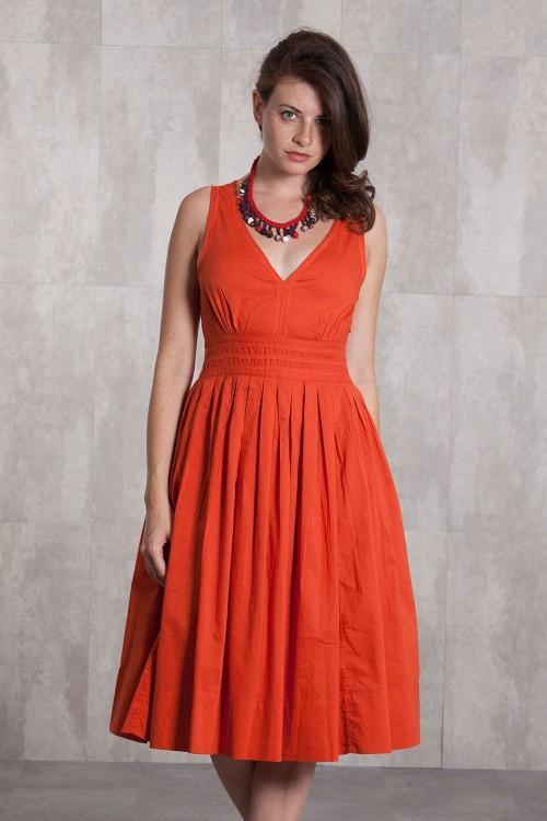 Dress Coton voil lined 635-71-Orange