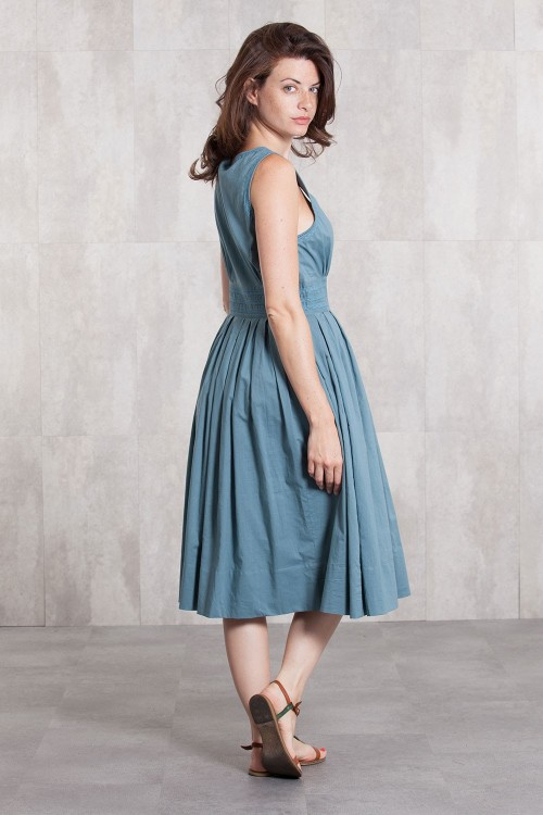 Dress Coton voil lined 635-71-Blue grey