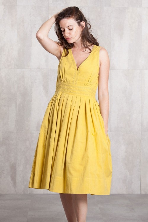 Dress Coton voil lined 635-71-Yellow