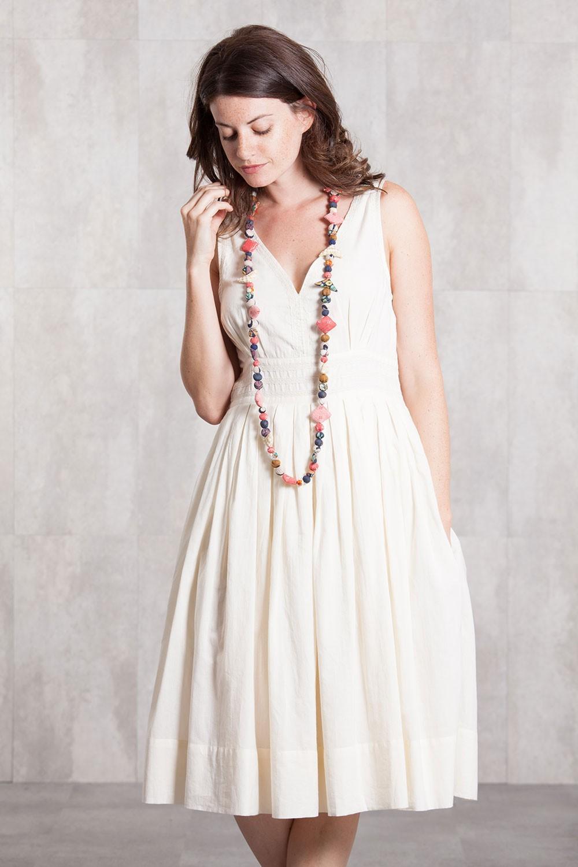 Robe en voile de coton doublée 635-71