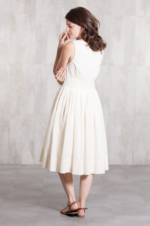 Dress Coton voil lined 635-71-Natural