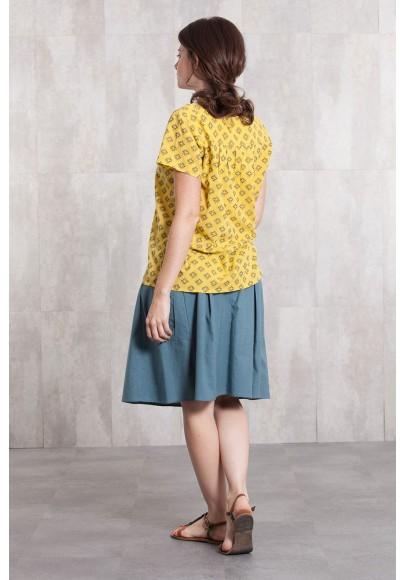 Skirt coton slub 635-35- blue grey