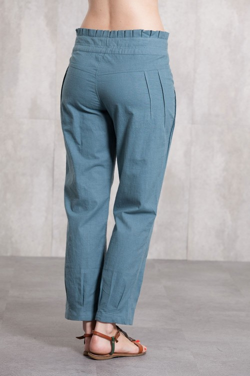 Pant coton slub 635-42- blue grey