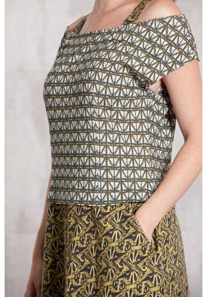 Robe jersey-popline de coton imprimée digitale-630-712