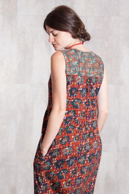 Robe  jersey imprimée digitale -631-77