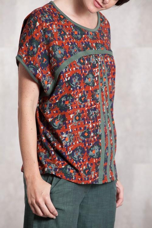T shirt Blouse  coton jersey digital print-631-21