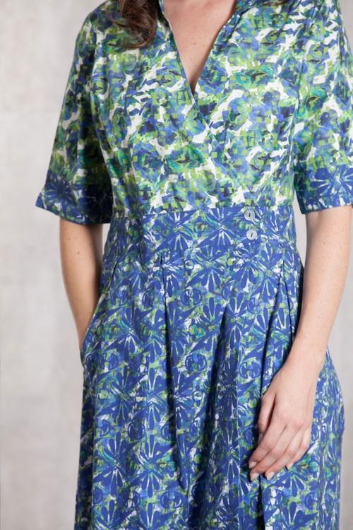 Robe poplin de coton  imprimée digitale -632-78