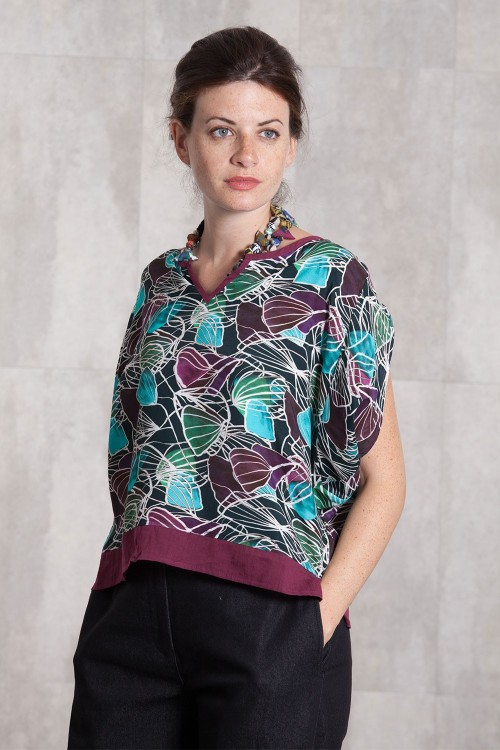 Blouse viscose  imprimée digitale -633-11A