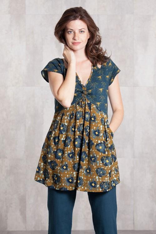 Robe viscose et jersey coton  imprimée digitale-634-88