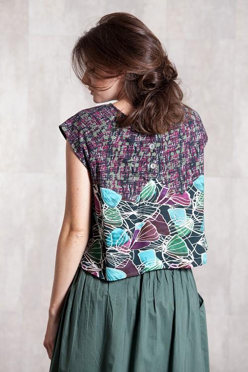 Pull T shirt jersey de coton et viscose  imprimée digitale-633-22
