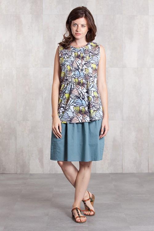 Skirt coton slub 635-32- blue grey