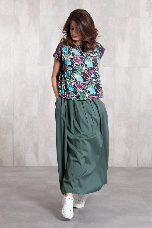Long skirt coton voil -635-34-kaki