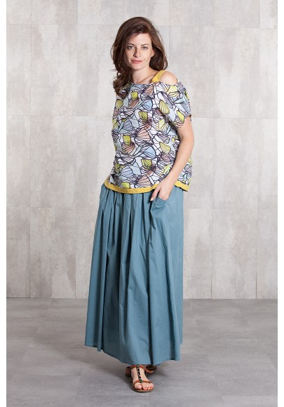 Long skirt coton voil -635-34-blue grey
