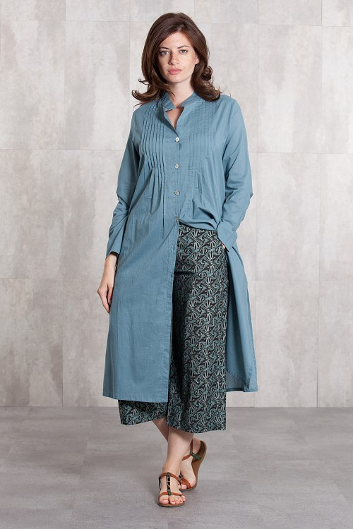 Dress Coat coton voil  -635-62-blue grey