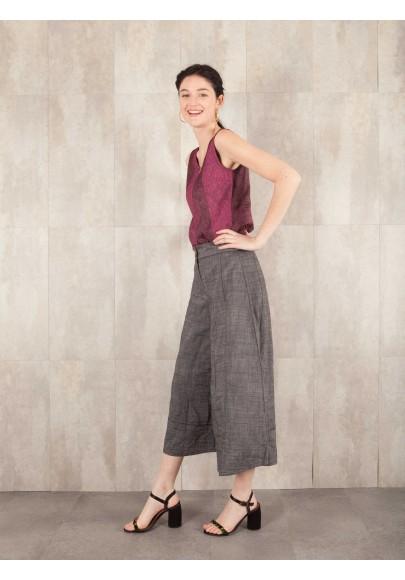 Pantalon Micha Large Froisse effet jean coton 520-41