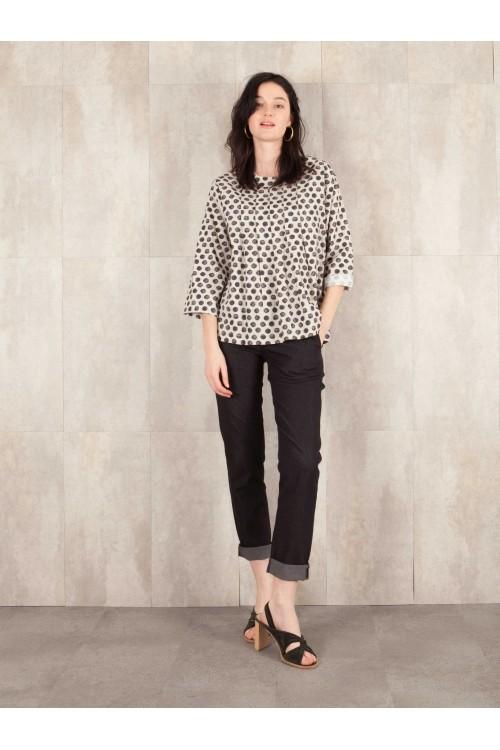 Blouse digital print  coton linen effect E16-11-CS