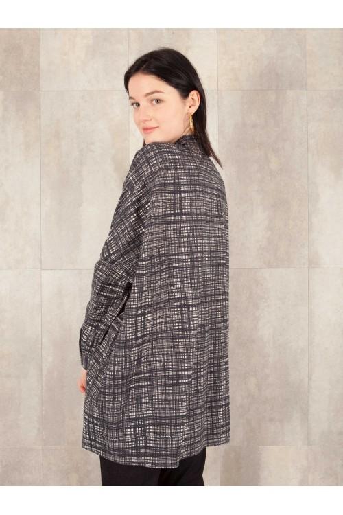 Chemise veste imprimée digitale coton effet lin E16-10-CC