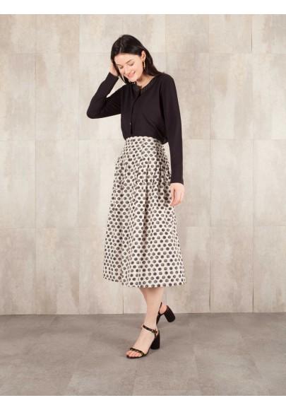 Skirt Digital print coton linen effect E16-30-CS