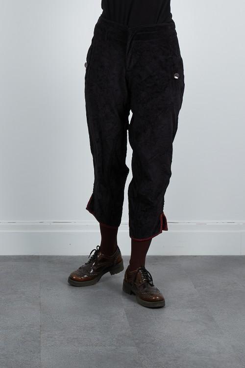 512-40 Pantalon court velours froissé