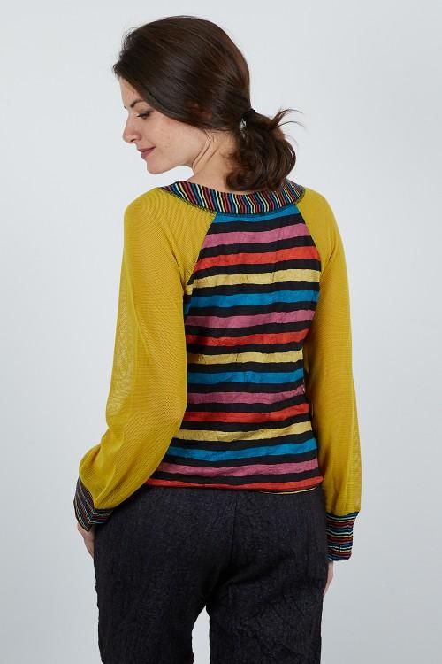 536-12 Blouse jersey rayée froissée
