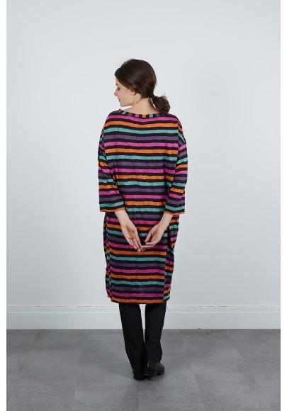 670-70 Robe jersey rayée froissée