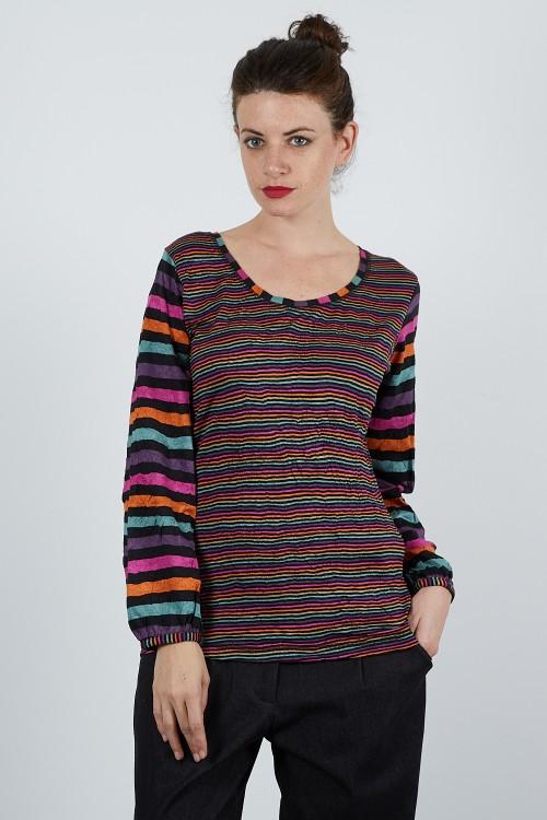 536-11 Pull T shirt multi rayé froissé
