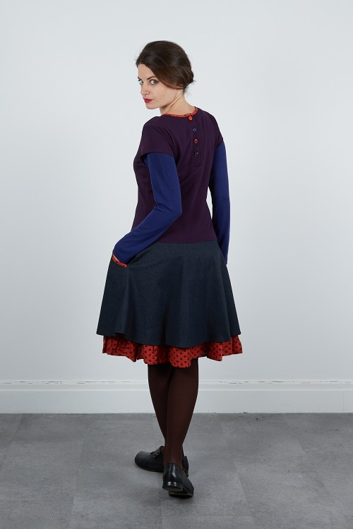 590-720 Robe maille jacquard -jean stretch