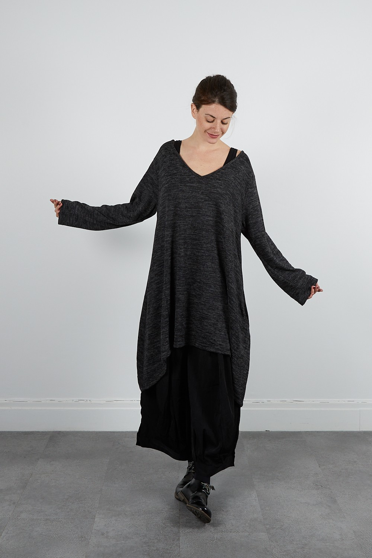 MUSE-13 Robe tunique V jersey chiné