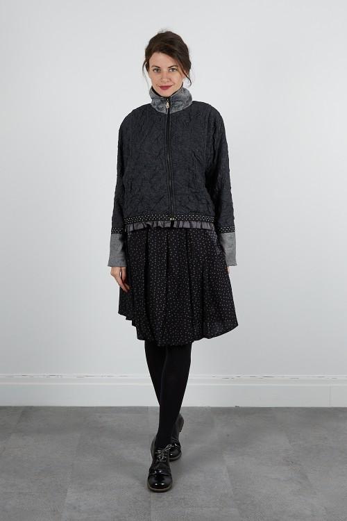 415-60 Veste blouson laine froissée zippé