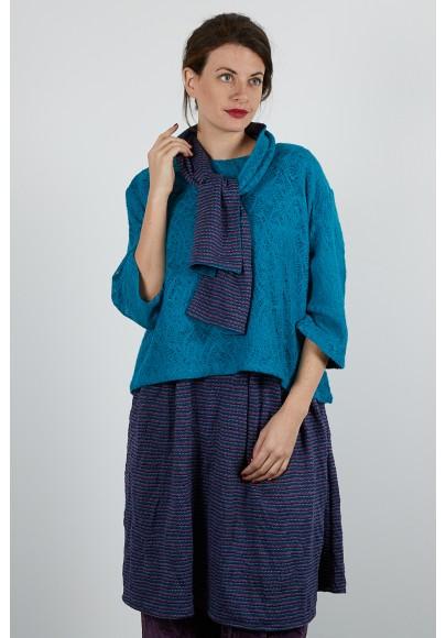 640-70 Robe tunique jersey jacquard froissé