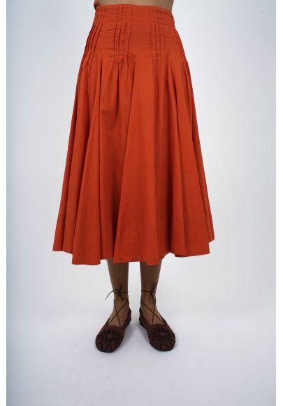462-30 Jupe ample voile de coton doublée