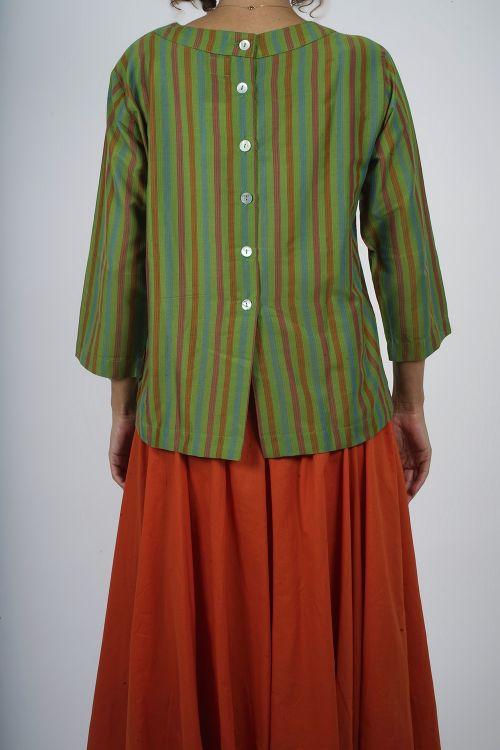 680-10 Blouse coton rayée fine