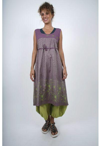 4610-70 Robe Tablier froissé lin/polyester