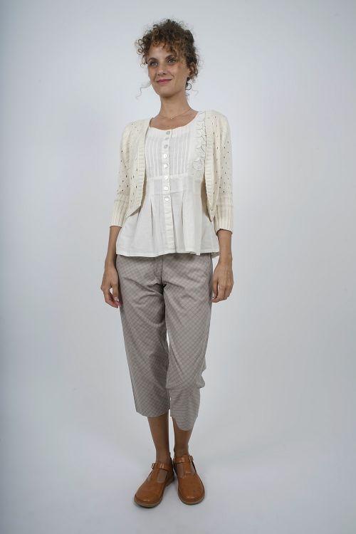 JUDITH-62 Bolero maille tricot main coton
