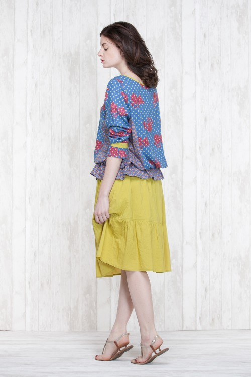 Blouse Blue-Olive  662-11