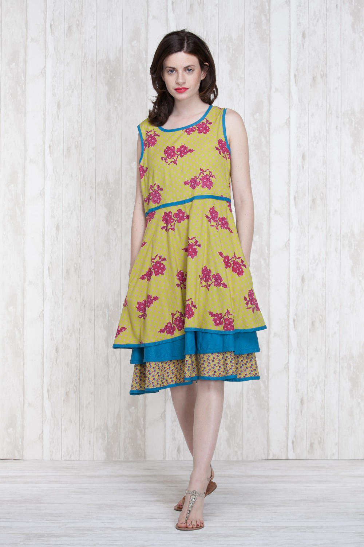 Dress Olive-Blue  662-710