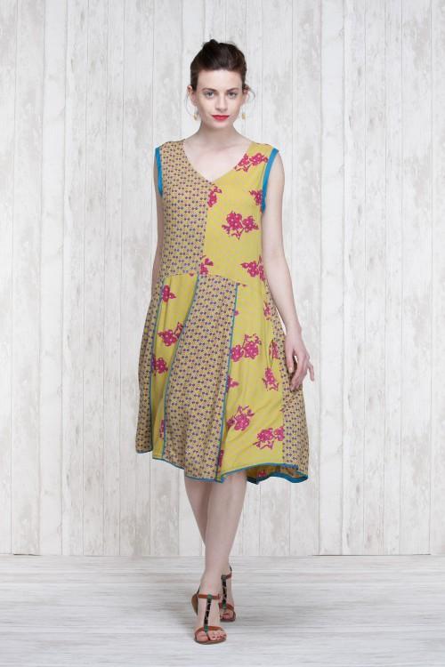 Dress Olive-Blue  662-72