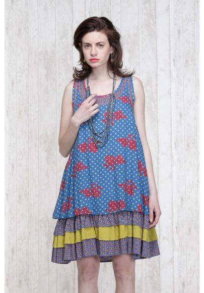 Robe Bleu-Olive  662-73