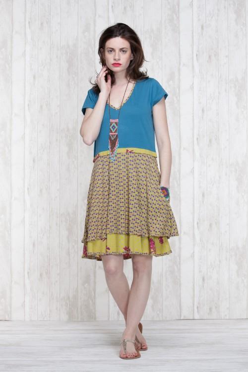 Dress Olive-Blue  662-74