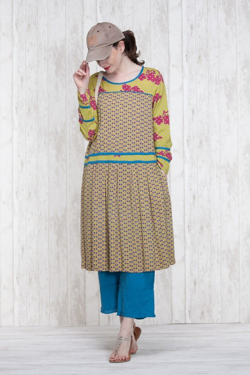 Dress Olive-Blue  662-75