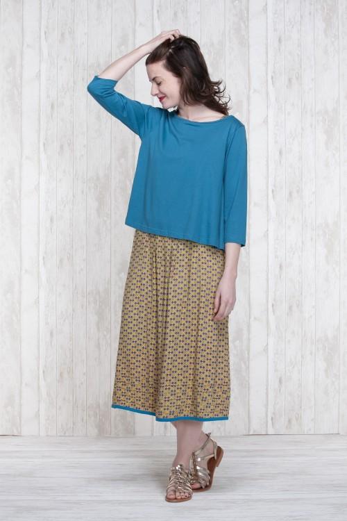 Dress Olive-Blue  662-78