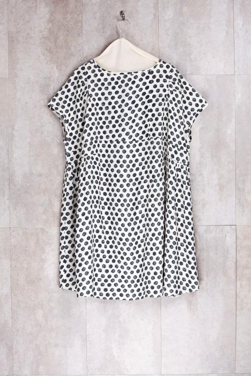 Robe Tunique imprimé noir/écru-E16-72-VI-G
