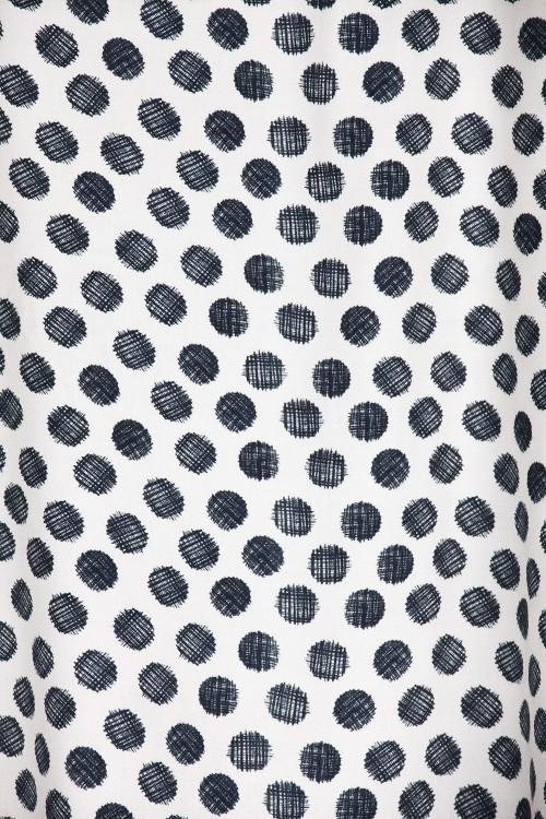 Blouse imprimés points noirs/écru-E16-11-VI-G