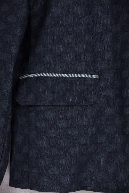 Veste black bleu jean imprimé points-E16-61-JS-D